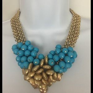 Jewelry - JEWELRY Gold and Turquoise Beaded Necklace